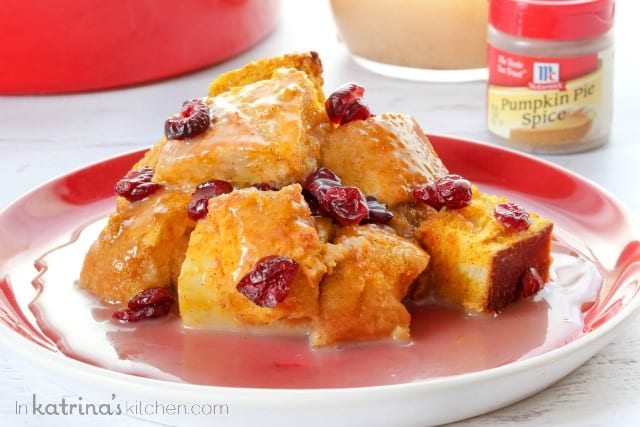 Pumpkin Cranberry Bread Pudding Recipe with Warm Vanilla Glaze