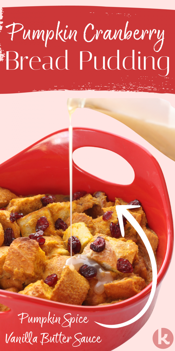 bread pudding shown in a red baking pan