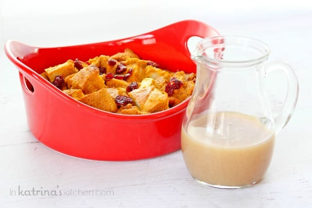Pumpkin Spice Vanilla Butter Sauce Recipe- perfect over Pumpkin Cranberry Bread Pudding