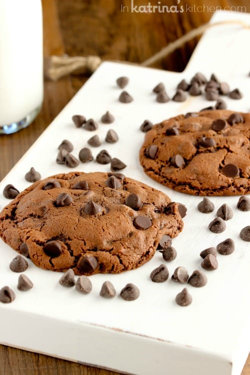 Double Chocolate Cookies Recipe for Two- makes 2 cookies or 1 giant cookie!