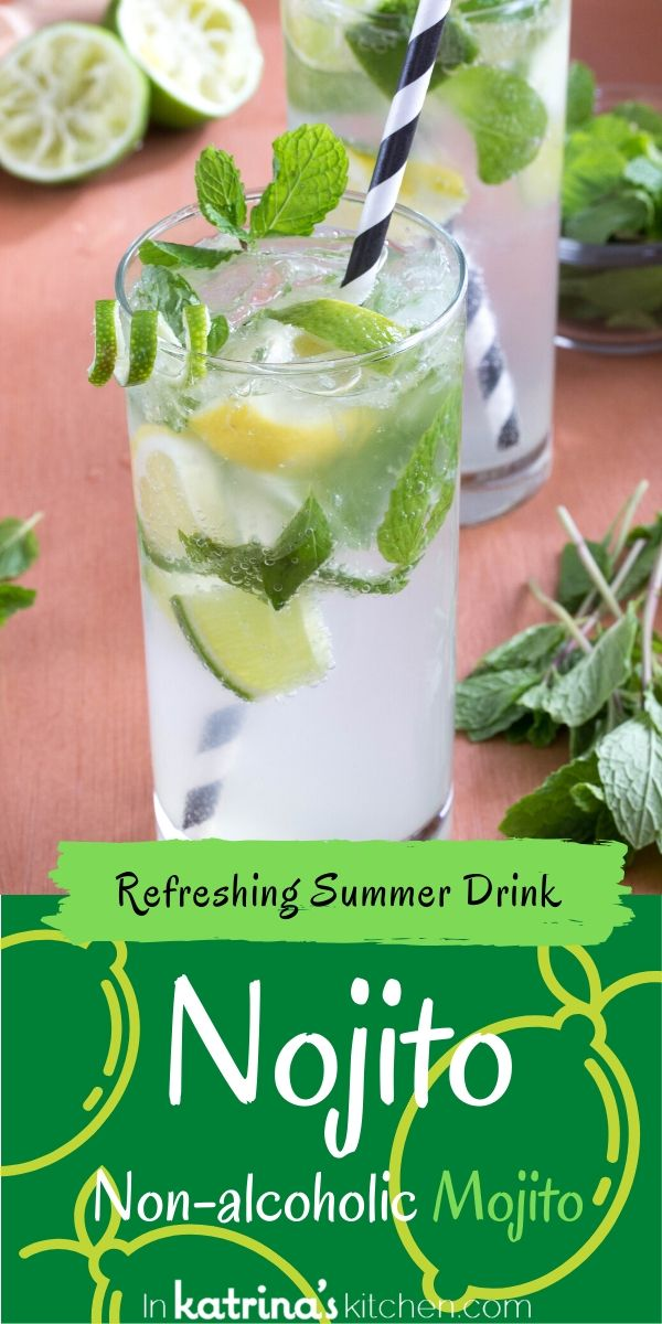 Nojito a glass of non alcoholic lemon lime fizzy drink with a striped straw and mint leaves