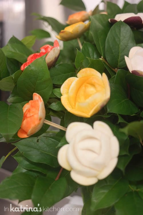 Food Carving Sculptures Aboard the Regal Princess- bouquets