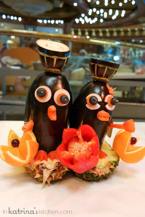 Food Carving Sculptures Aboard the Regal Princess- dapper penguins