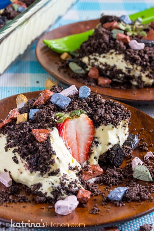 Adorable dirt cake with fresh strawberries