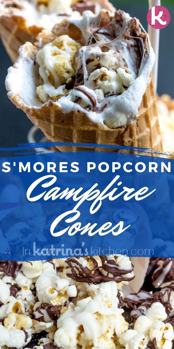 S'mores Popcorn Campfire Cones recipe perfect spin on a summer favorite