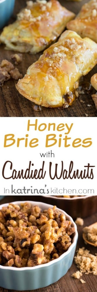 collage image with text Honey Brie Bites Recipe with Brown Sugar Candied Walnuts