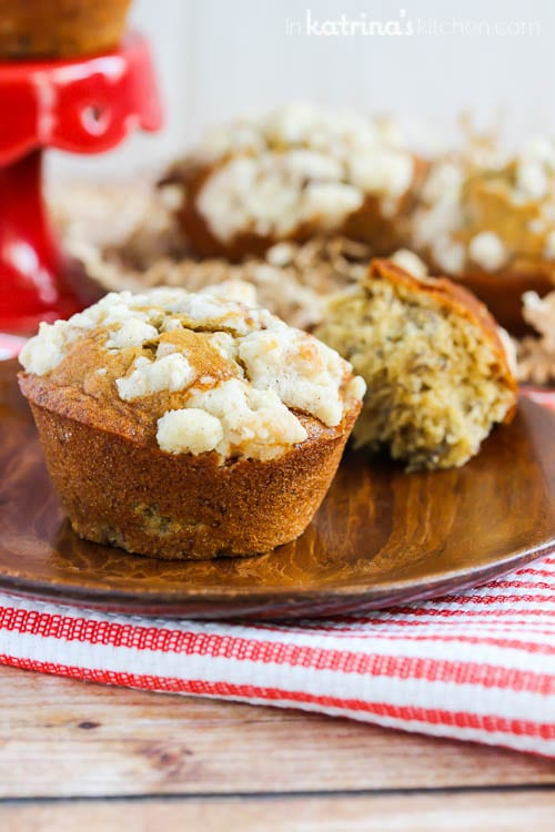 This is not your average Banana Struesel Muffin Recipe- they have a secret ingredient!