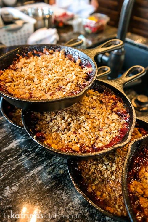 Prepare cobbler in cast iron pans