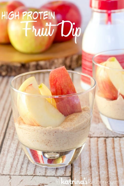 High Protein Fruit Dip Recipe made with Greek yogurt and almond butter