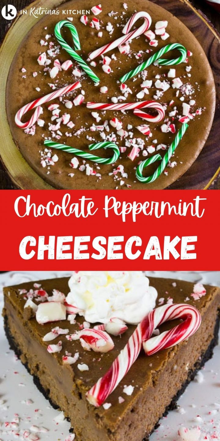 chocolate cheesecake with crushed candy canes on top and the text chocolate peppermint cheesecake