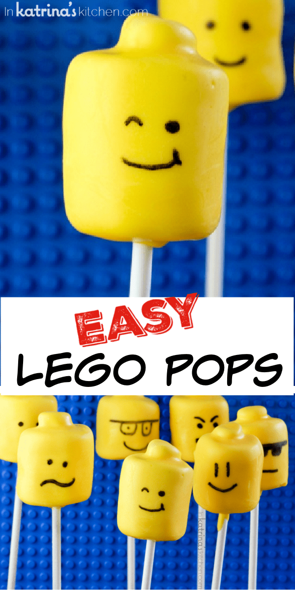marshmallow cake pop with a lego smile face collage image with many different faces