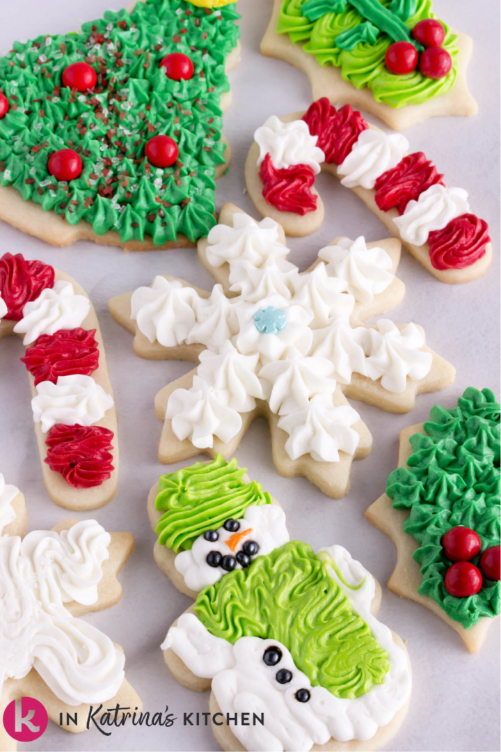 decorated christmas cookies snowman candycane snowflake tree holly