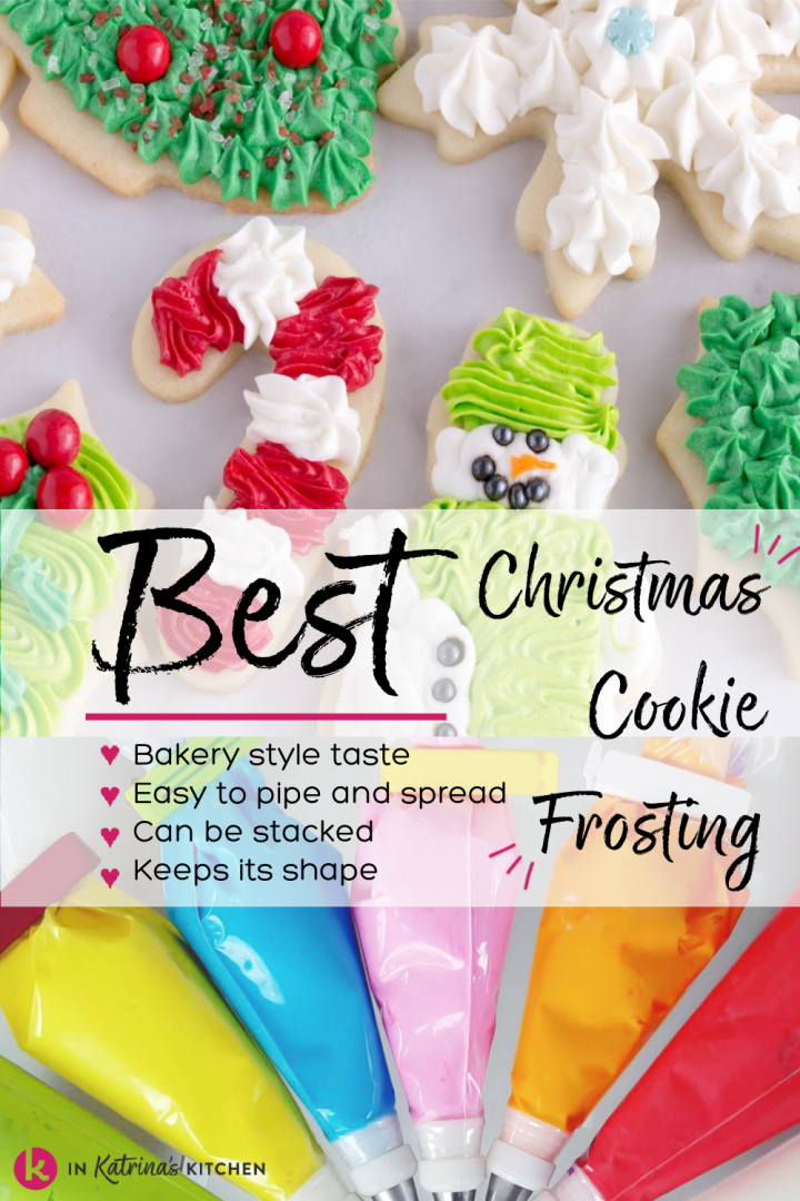 frosted christmas cookies candy cane snowman holly and christmas tree shown with text best christmas cookie frosting