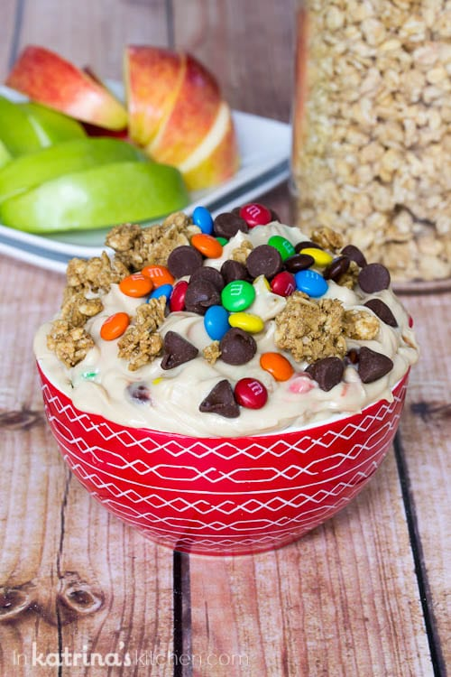 Packed full of protein. You'll love this Greek Yogurt Monster Cookie Dough Dip Recipe