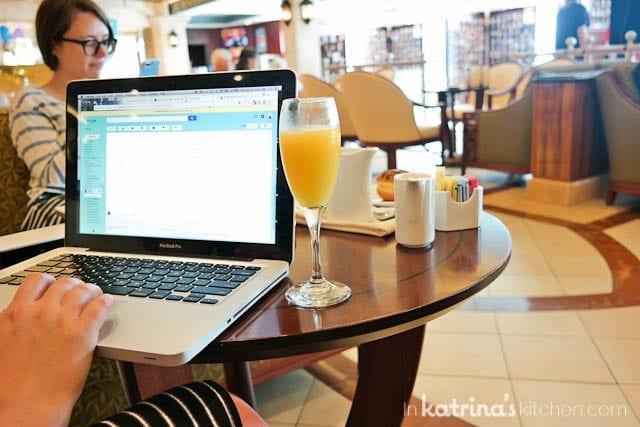 Mimosas at the International Cafe- Eating Richly Aboard Princess Cruises