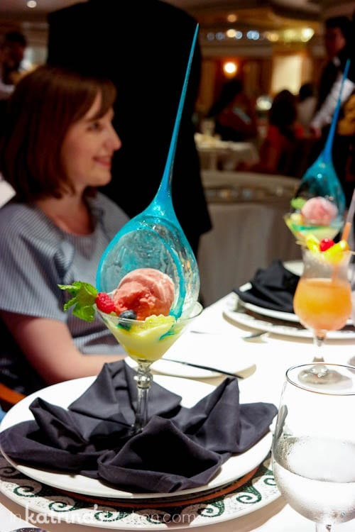 Sorbet Palate Cleanser at the Chef's Table- Chef's Table Dinner Service- Eating Richly Aboard Princess Cruises