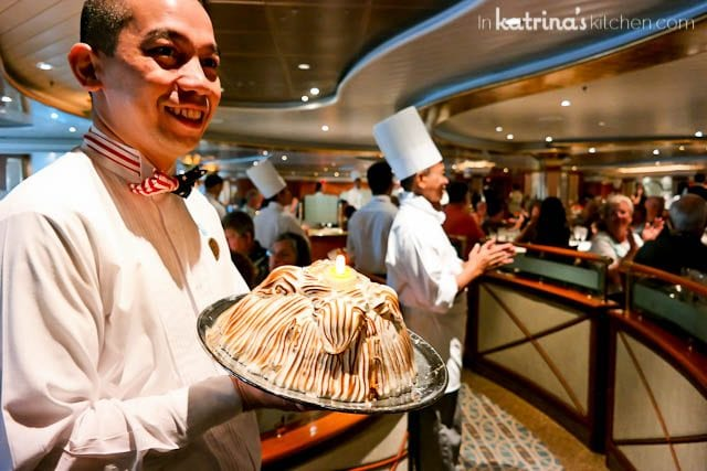 Baked Alaska being served aboard the Coral Princess cruise ship
