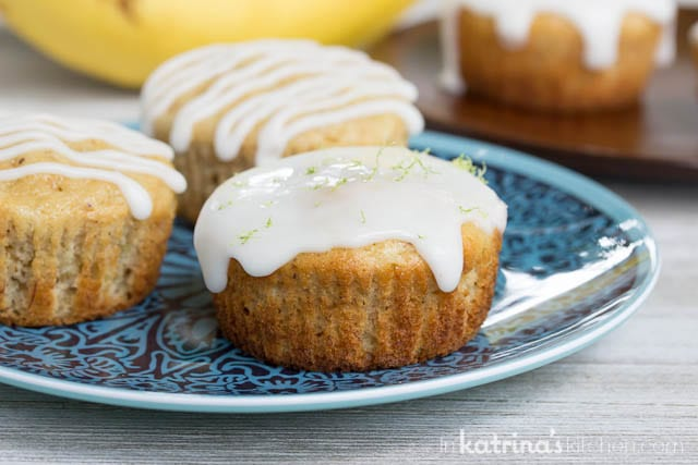 Cabana Banana Bread Muffin Recipe with a Lime Glaze