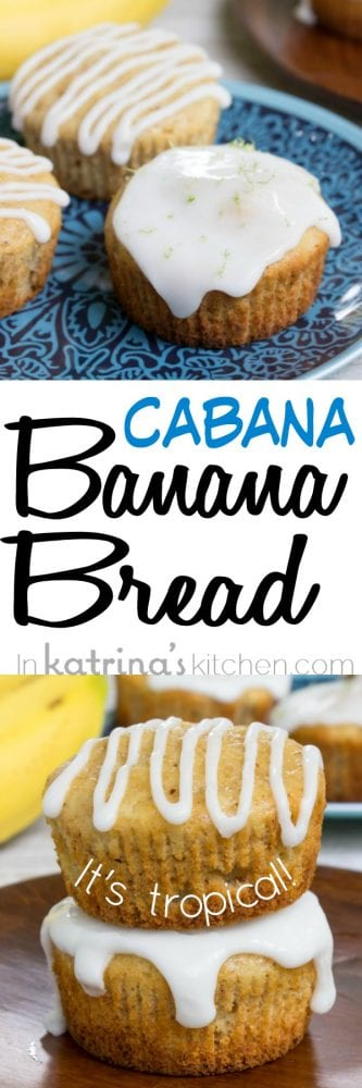 Tropical Cabana Banana Bread Muffin Recipe with crushed pineapple and lime glaze