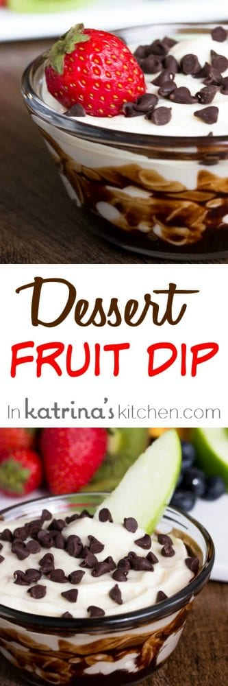 Chocolate Swirled Dessert Fruit Dip topped with fresh fruit and chocolate chips