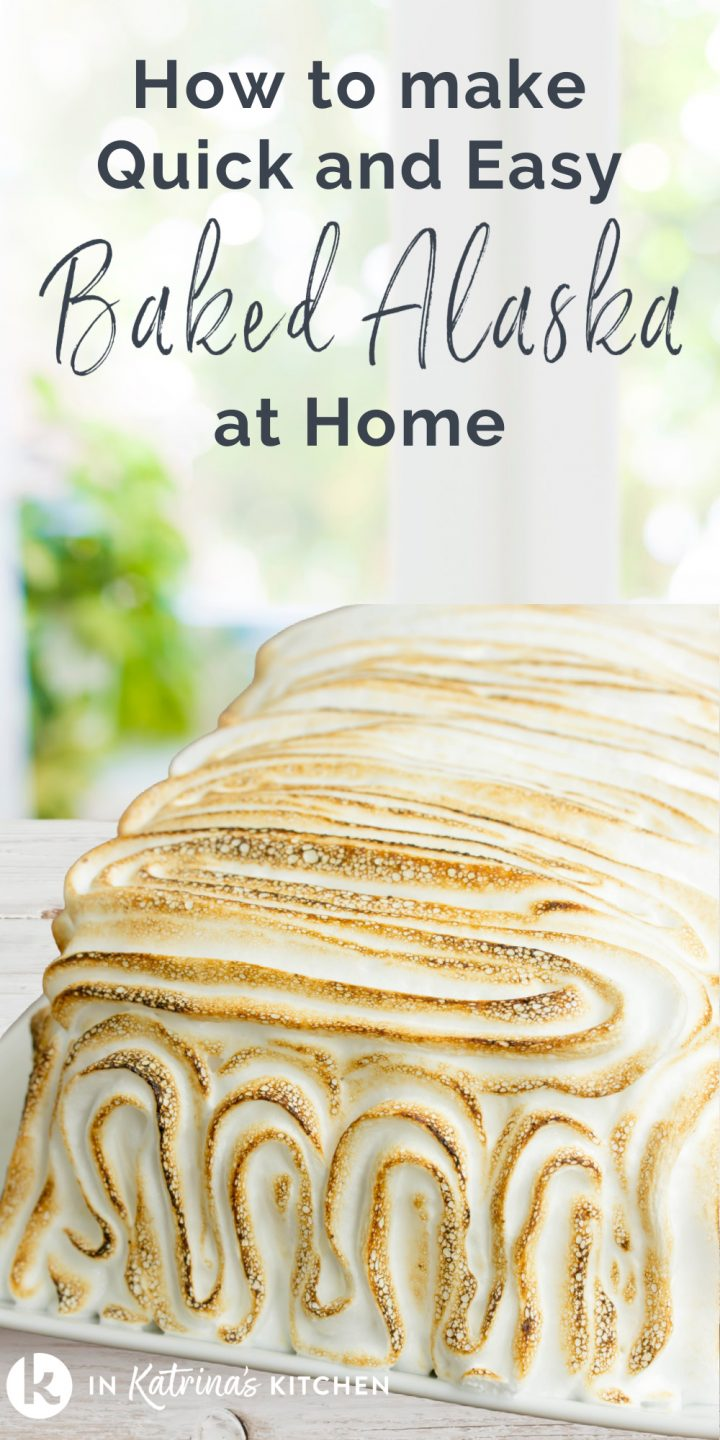 toasted meringue cake on a plate with the text how to make quick and easy baked Alaska at home