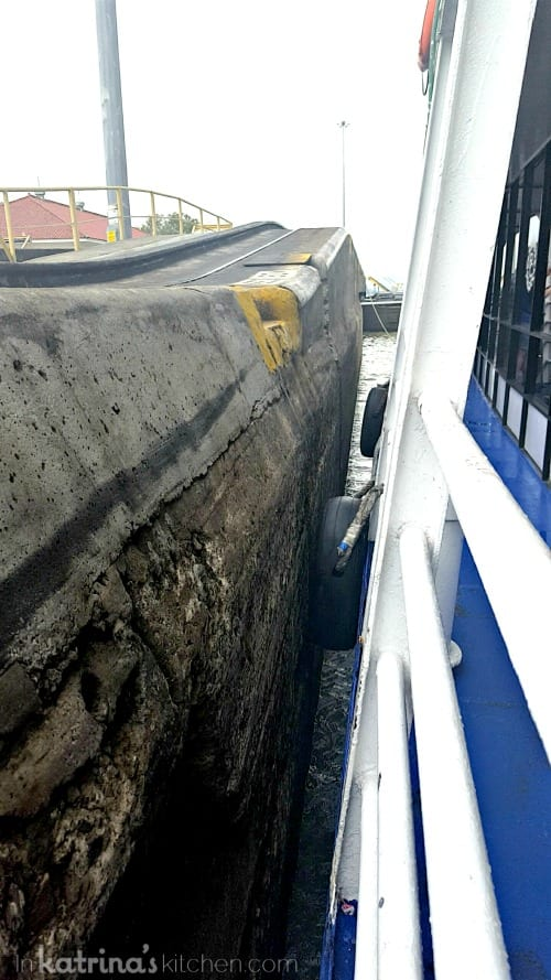 Squeezing through the Panama Canal locks!