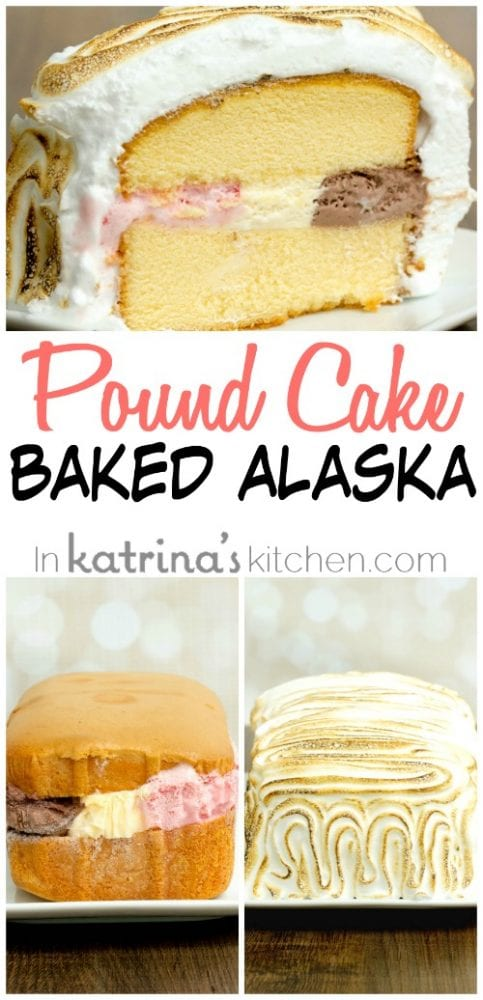 collage image of Neapolitan Pound Cake Baked Alaska before and after baking and sliced