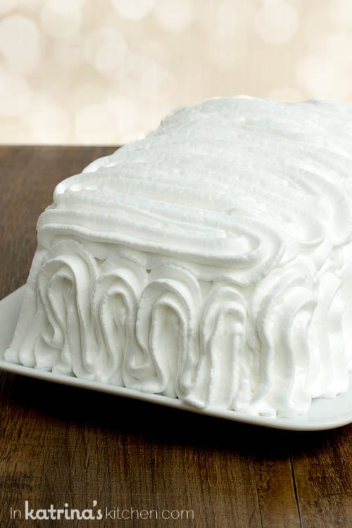 Fluffy meringue piled high on the EASY Pound Cake Baked Alaska
