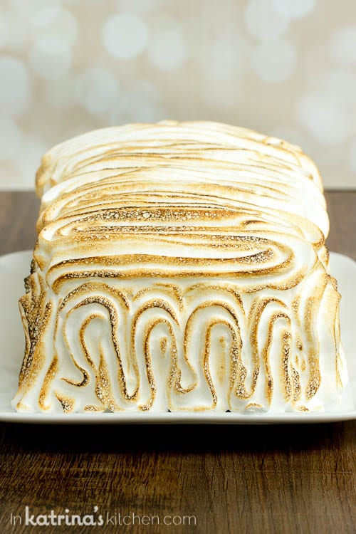 Toasted meringue frosting on top of Baked Alaska dessert