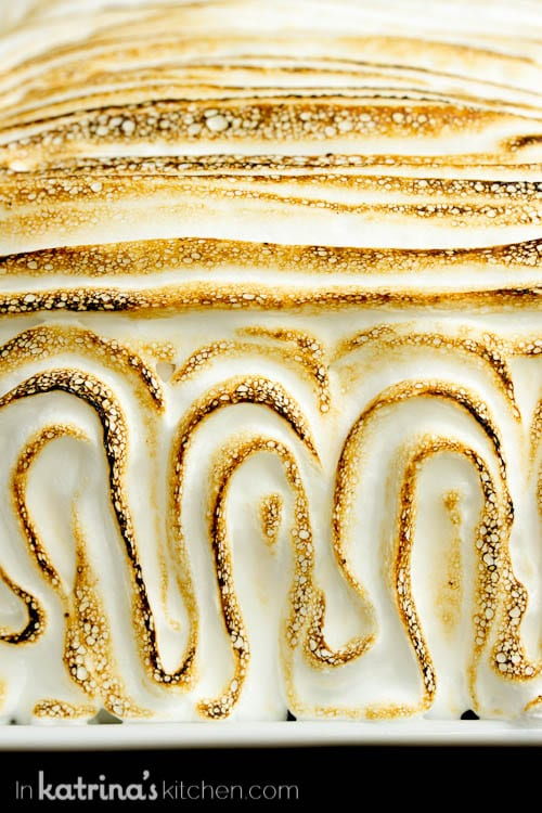 Pound Cake Baked Alaska fluffy torched meringue close up