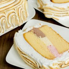 EASY Neapolitan Pound Cake Baked Alaska Recipe- uses a frozen pound cake!!
