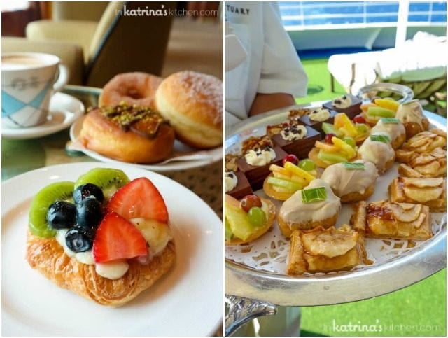 Fresh fruit and custard croissant and fruit tart tray served on Princess Cruises