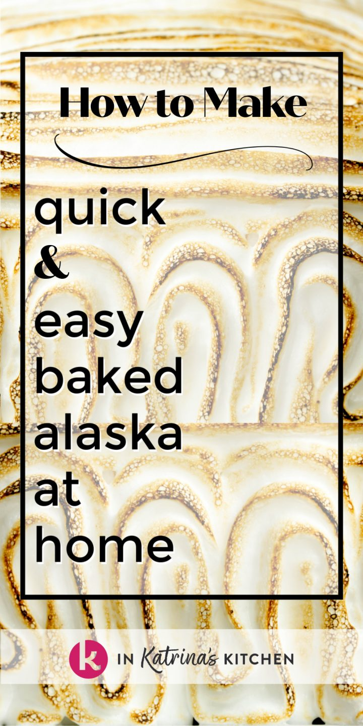 toasted meringue with the text how to make quick and easy baked Alaska at home