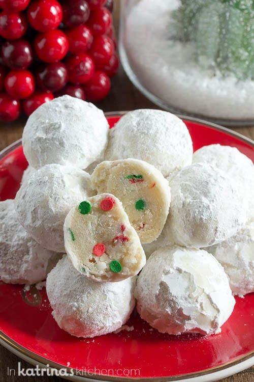 No nuts, allergy safe for everyone to enjoy! Sprinkle Snowball Cookies Recipe
