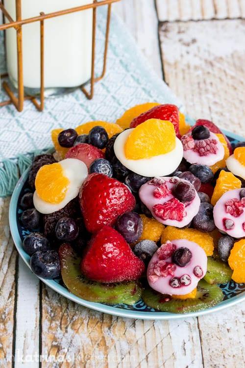 Simple Summer snack! Frozen Fruit and Yogurt Discs Recipe