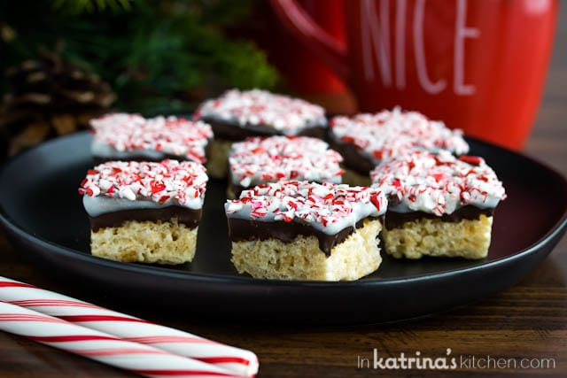 Peppermint Bark Rice Crispy Treats recipe