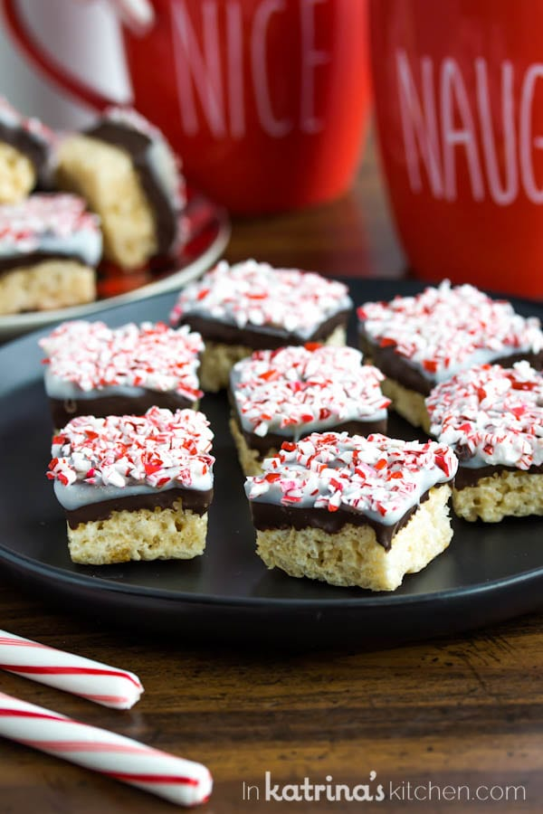 Peppermint Bark Rice Crispy Treats recipe for holiday cookie trays