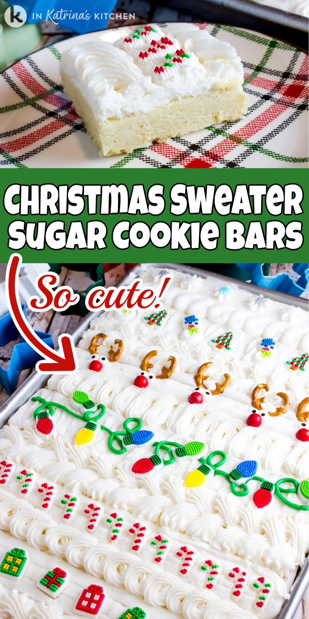 Perfectly thick and fluffy! These Ugly Christmas Sweater Sugar Cookie Bars are quick and easy! Cut out sugar cookies take too long to decorate. Serve these cookie bars at holiday parties. Print and Pin the recipe at In Katrina's Kitchen.