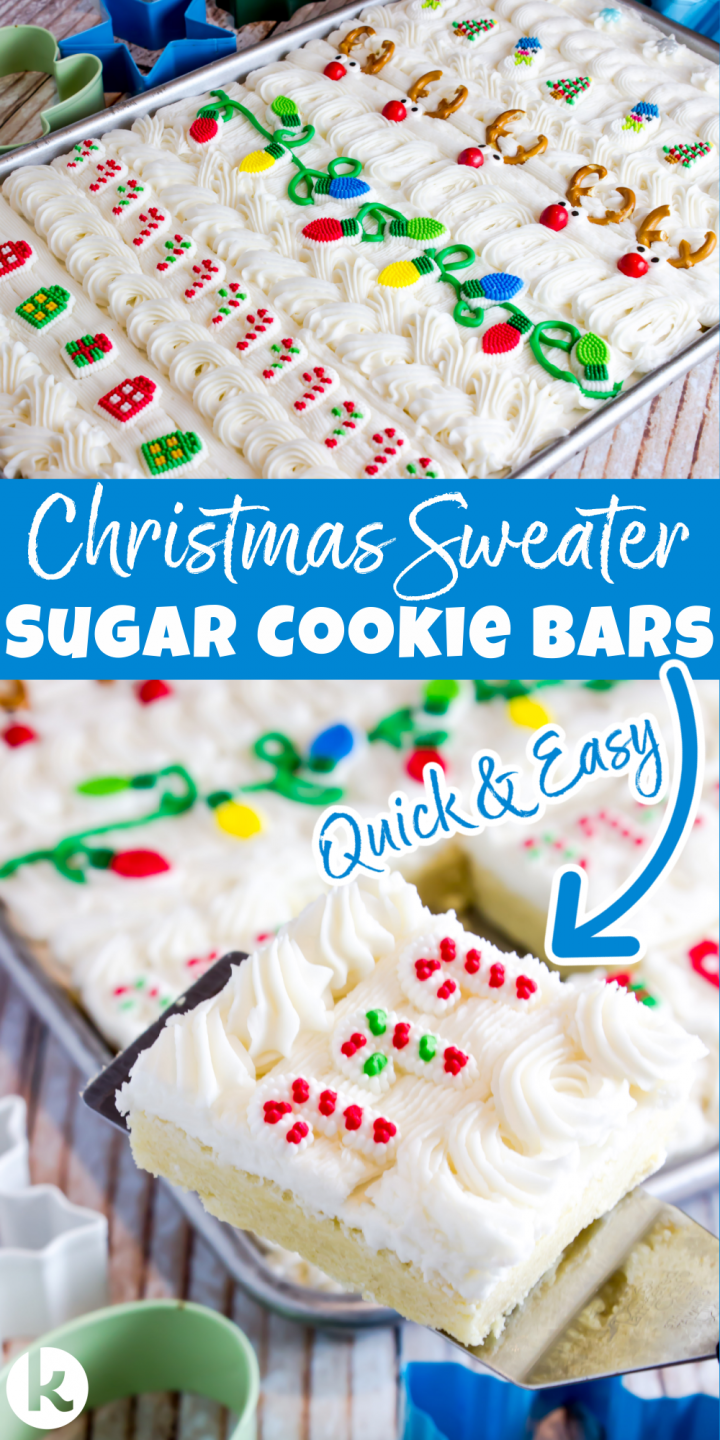 cookie bars decorated like Christmas a sweater shown in a baking sheet with a slice on a serving spatula