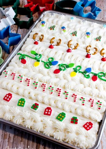 Ugly Christmas Sweater Sugar Cookie Bars are the quickest way to make soft frosted sugar cookies for a crowd. No chilling, no cutting, no mess!