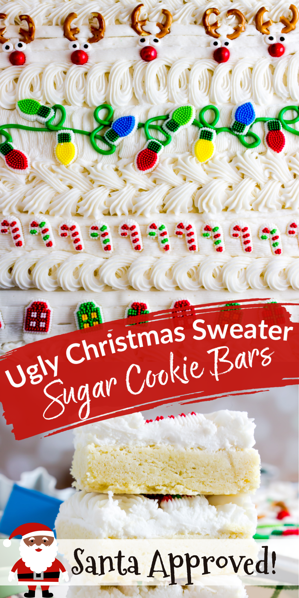 Santa approved! These Ugly Christmas Sweater Sugar Cookie Bars are quick and easy! Cut out sugar cookies take too long to decorate. Serve these cookie bars at holiday parties. Print and Pin the recipe at In Katrina's Kitchen.