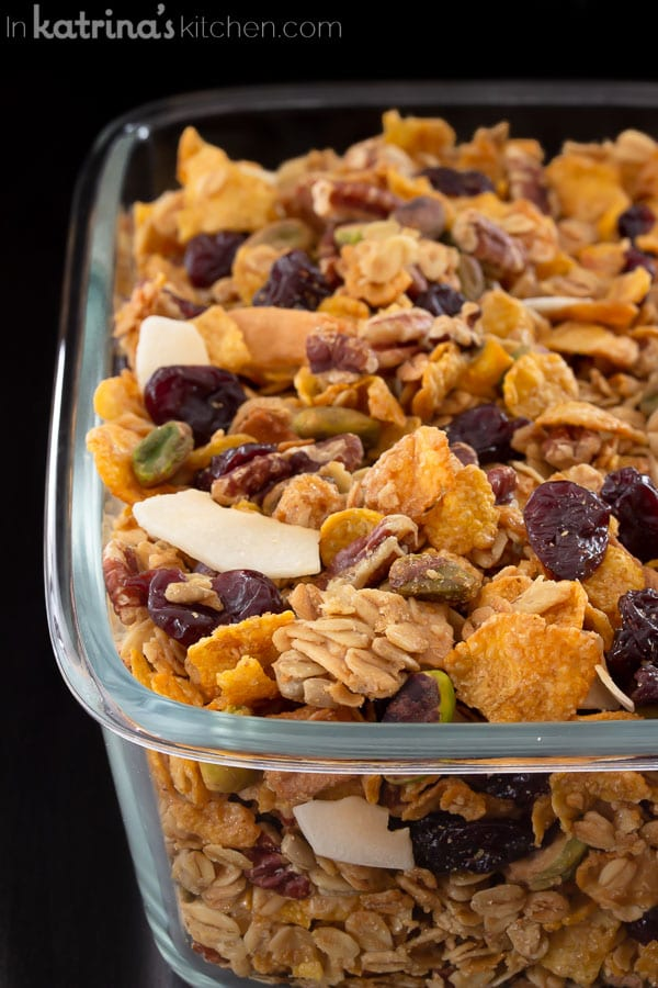 close up shot of granola in rectangular glass container