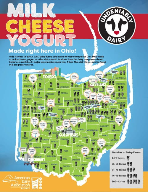 map of ohio labeling where dairy products are made