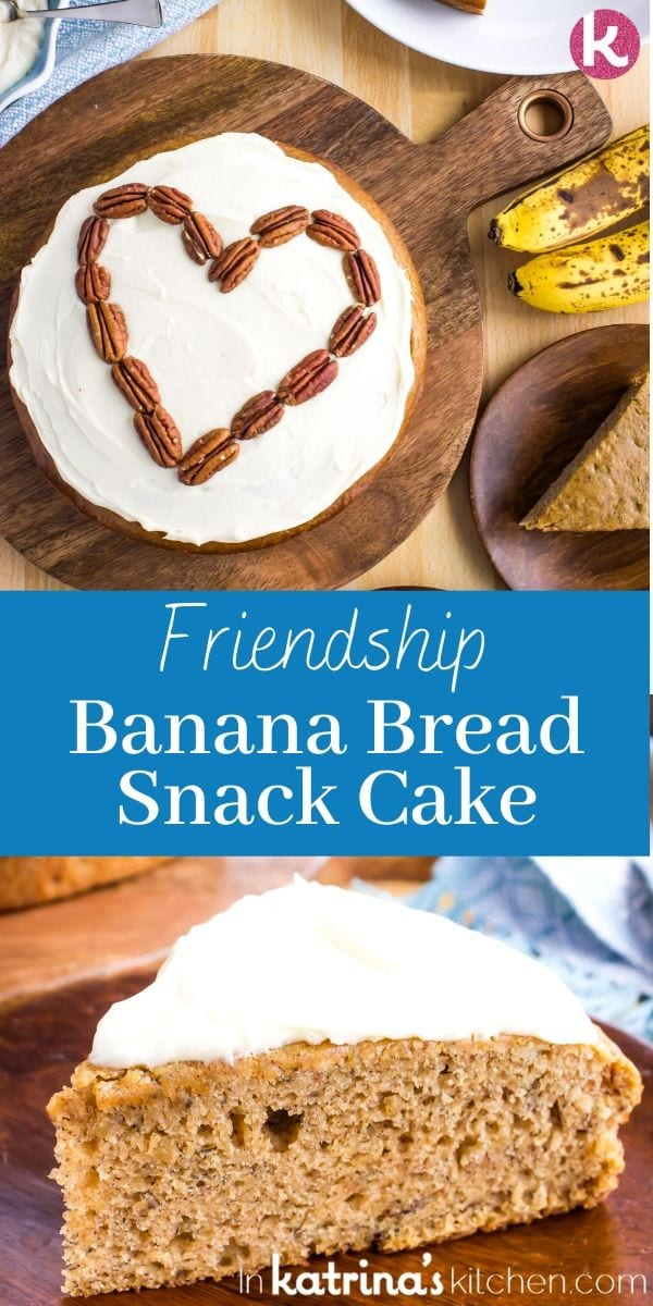 Friendship Banana Bread Snack cake overhead shot and up close slice in a collage photo