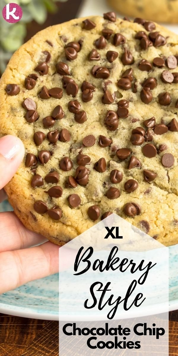 a large chocolate chip cookie being held with one hand along with the text xl bakery style chocolate chip cookies