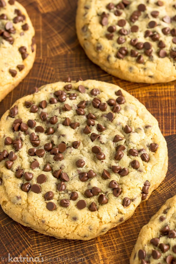 close up photo of an extra large chocolate chip cookie