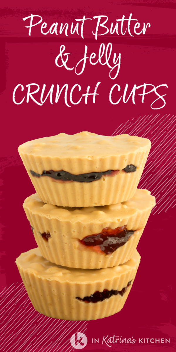 Full of crispy rice cereal and oozing with homemade jam, these Peanut Butter and Jelly Crunch Cups are a delicious afternoon treat!