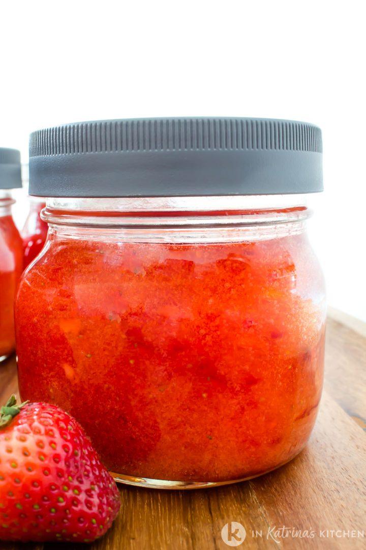 mason jar of homemade strawberry jam