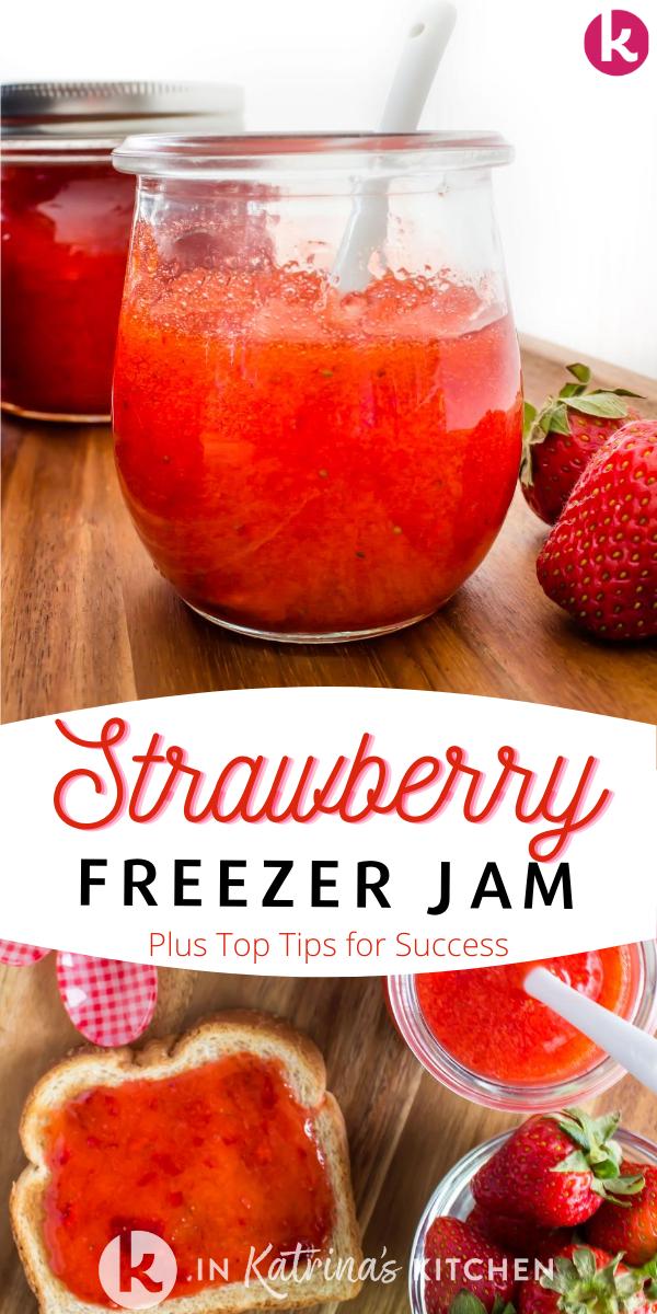 jar of strawberry freezer jam along with jam spread on toast