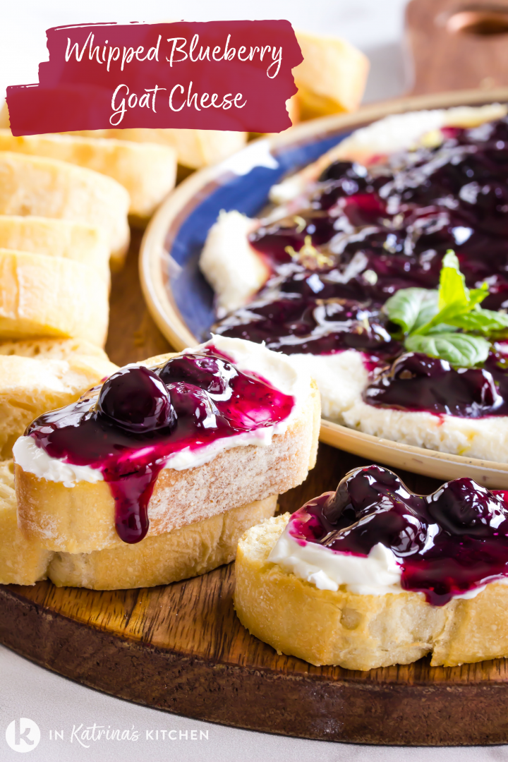 whipped blueberry goat cheese spread on top of toasted baguette slices